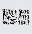bodybuilder fitness muscular guy silhouettes vector image