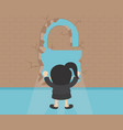 business concept businesswoman breaking the wall vector image vector image