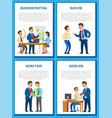 business meeting conference with charts diagrams vector image vector image