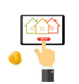 businessman buys a house online vector image vector image