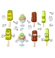 Cartoon ice cream bar sundae and popsicles vector image