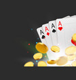 casino poker cards background with coins and copy vector image vector image