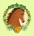 Chestnut Horse head of stallion vector image vector image
