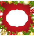 Christmas Background With Label And Ribbon vector image vector image