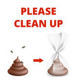 clean up after dog info poster poop and insects vector image
