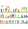 Colored children silhouettes playing outdoor vector image vector image