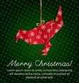 Colorful Christmas Greeting with an origami bird vector image vector image