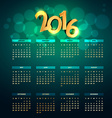 creative golden 2016 calender vector image