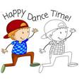 doodle happy dancer character vector image