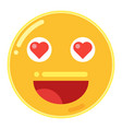 emoji of smiley face with love heart in flat vector image
