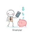 financier with a calculator and piglets piggy bank vector image vector image