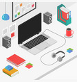 flat 3d isometric workspace concept with laptop vector image
