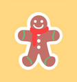 gingerbread boy sticker in white framing vector image