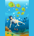 girl swimming in the ocean vector image vector image