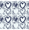 Hand-drawn seamless heart pattern vector image vector image