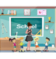 happy children at school classroom with teacher vector image
