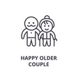 happy older couple line icon outline sign linear vector image vector image