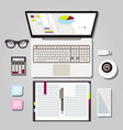 laptop workspace graphic vector image
