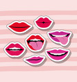 lips and mouth sticker set gesture on pop art vector image vector image