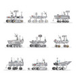 mars rovers isolated icons set vector image vector image