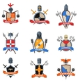 Medieval knights emblems flat icons set vector image vector image