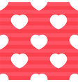 Pink stripes and white hearts seamless pattern vector image vector image