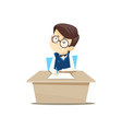 pupil sitting at a desk and doing homework vector image