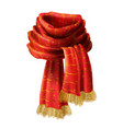red knitted scarf with decorative pattern vector image vector image