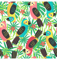 seamless pattern with colorful parrot vector image