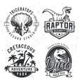 set dino logos raptor t-shirt vector image