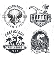 Set of Dino Logos Raptor t-shirt vector image vector image