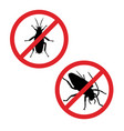 silhouette of cockroach in prohibition sign icon vector image