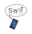 smartphone with swot analysis strategy management vector image vector image
