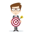 Successful businessman or teacher holding a target vector image vector image