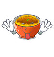 tongue out katsudon is served on mascot plate vector image