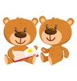Two retro style teddy bear characters sitting and vector image vector image