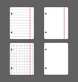 white leaves with holes for the folder in a line vector image vector image