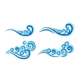 curly blue waves vector image