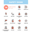 safety signs - modern simple icons pictograms set vector image