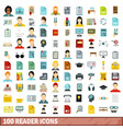 100 reader icons set flat style vector image