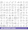 100 transport icons set outline style vector image vector image