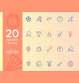 25 sports icon sports symbol outline icons for vector image