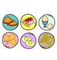 A Set of Breakfast on Round Background vector image vector image