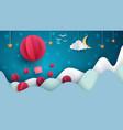 air balloon cartoon paper landscape vector image vector image