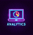 analytics neon label vector image vector image