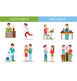 bad and good habits poster set vector image vector image