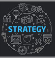 black line flat circle strategy vector image