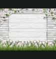 board brick grass tulip background vector image vector image