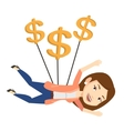 Business woman flying with dollar signs vector image vector image
