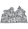 cartoon grayscale construction town vector image vector image